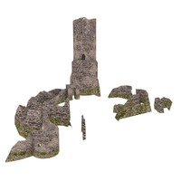 3d ruined medieval castle poland model