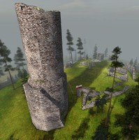 ruined medieval castle poland 3d dwg