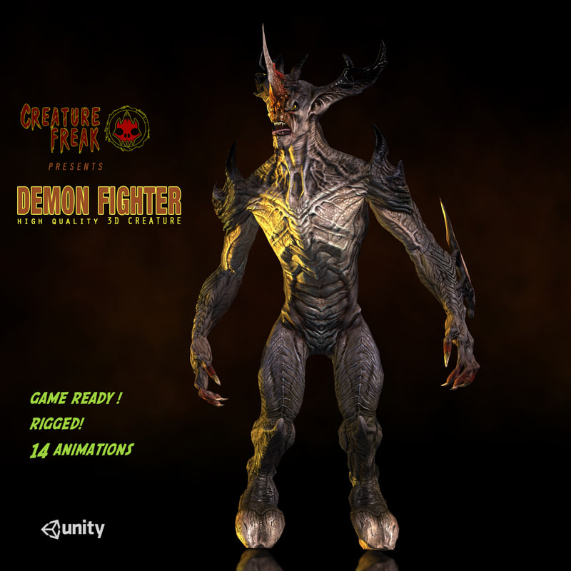 3d model demon fighter