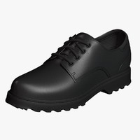 oxford shoes black leather 3d model