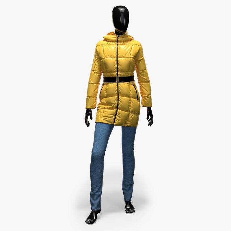3d model female jacket jeans