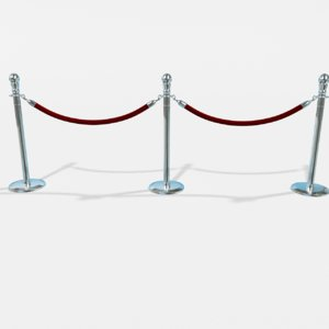 3d model of stanchion line dividers