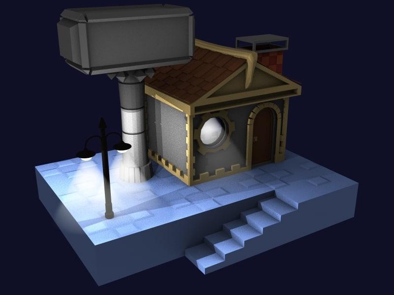 hammer house 3d model