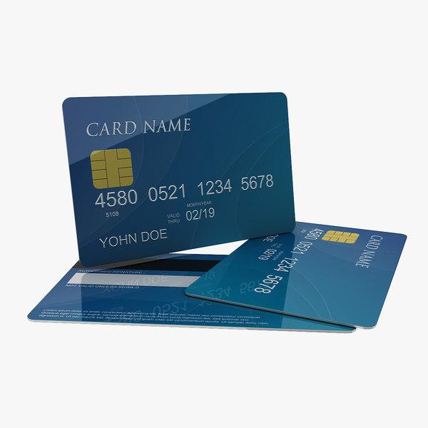 3d generic credit card model