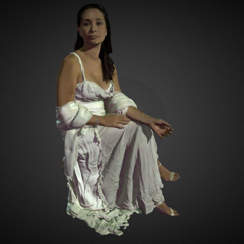 lady white dress 3d model