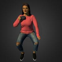 girl vespa 3d model