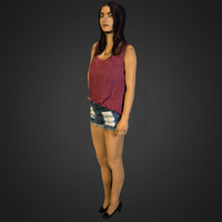 3d frowning slim girl