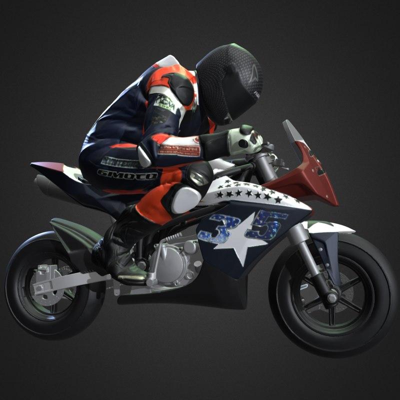 3d model of racing motorbike driver