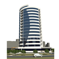 Business centre building in microdistrict