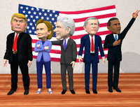 politician caricatures pack 3d model