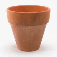 3d small flower pot terra cotta