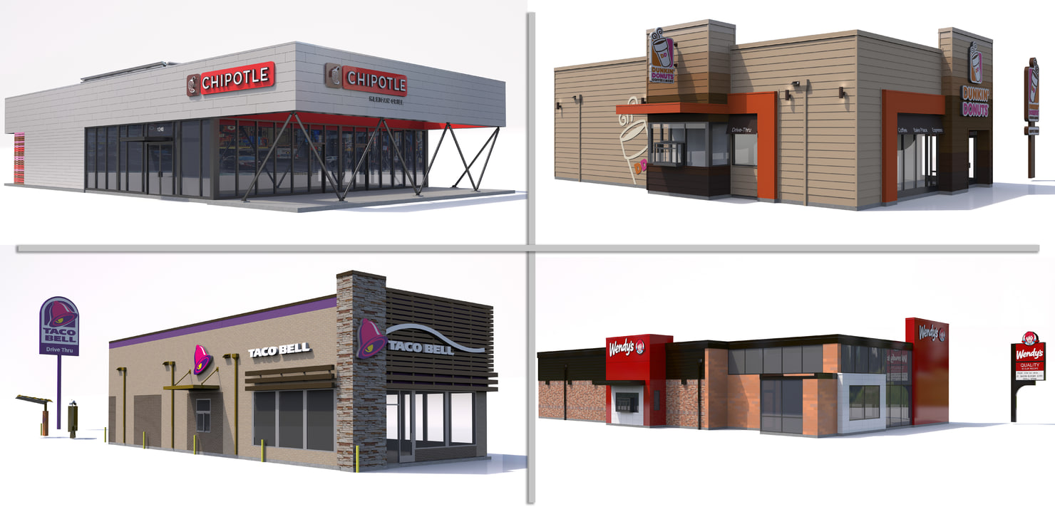 fast food restaurant 3d model
