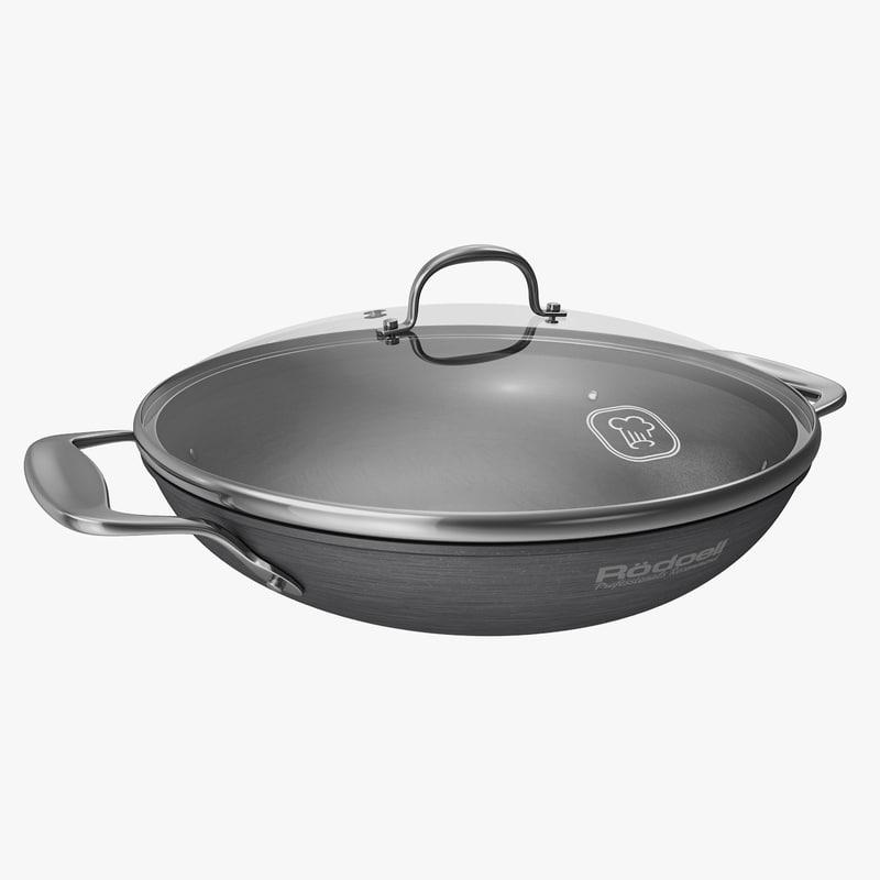 3d model of wok pan