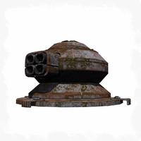 3d sci fi turret