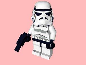 3d model of lego minifigure stormtrooper