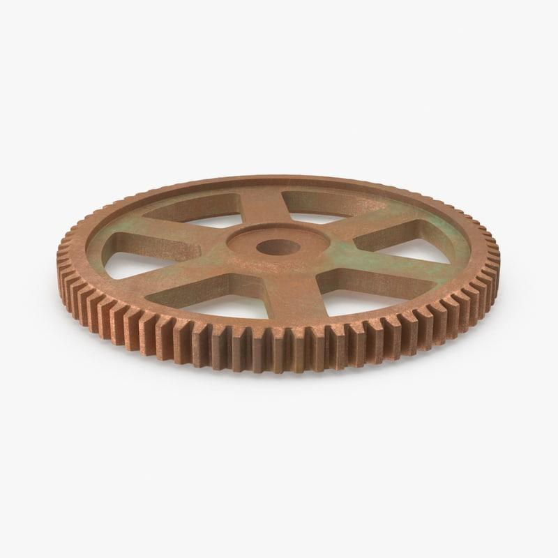 gear spur copper 3d model