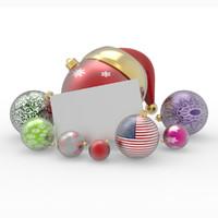 merry christmas balls 3d model