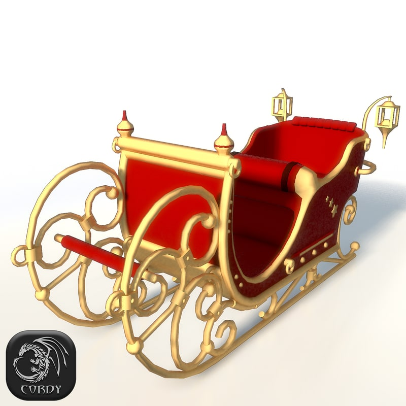 santa claus sleigh christmas 3d model