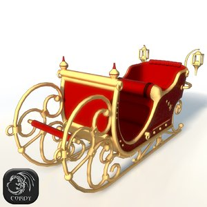 santa claus sleigh christmas 3d model