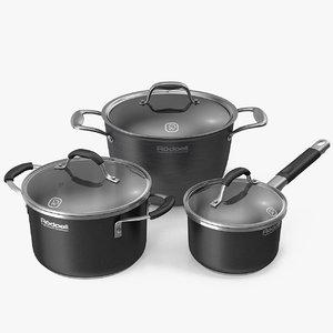 3d cookware set pots model