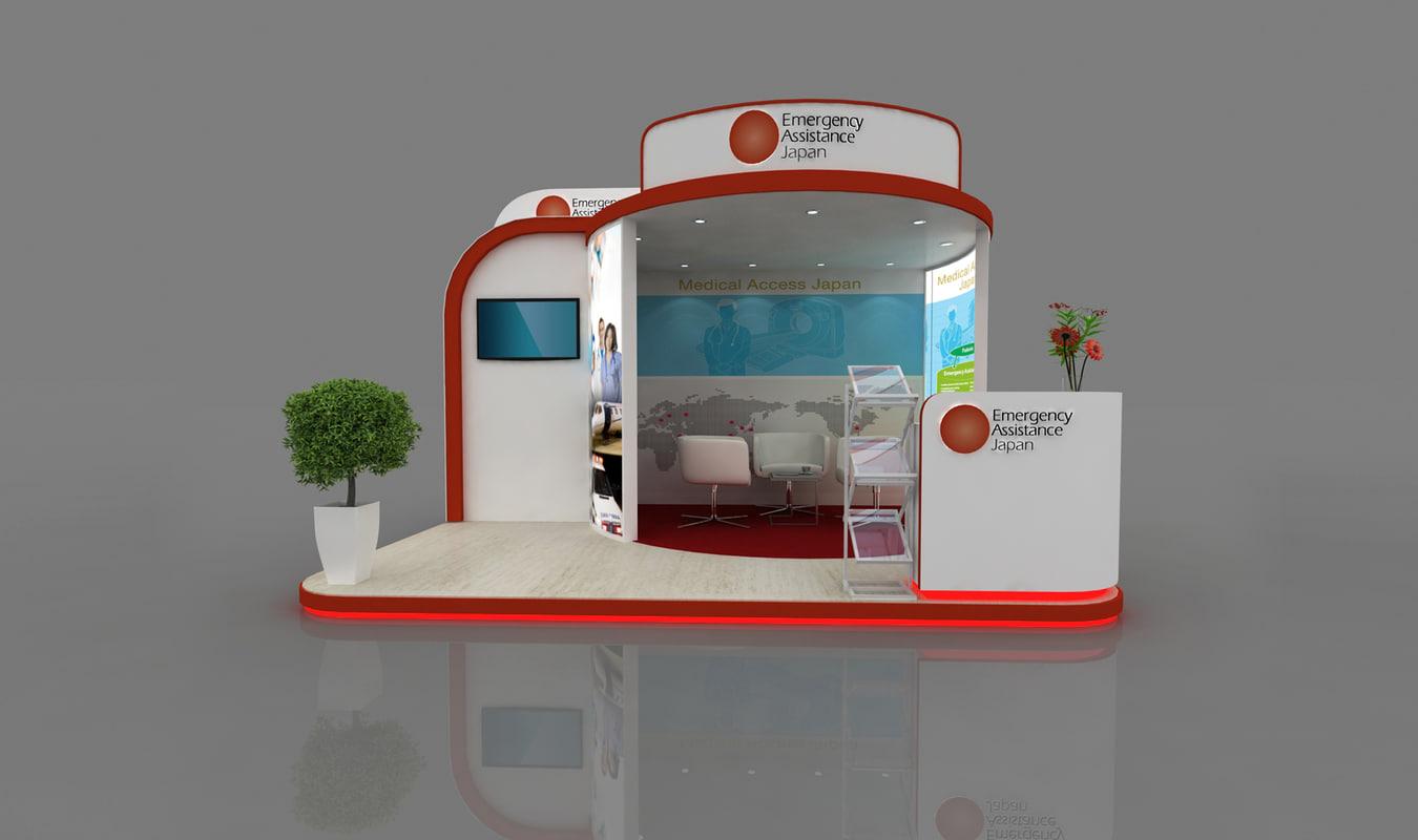 4x3 meter exhibition stand 3d model