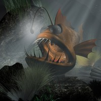 3d model cartoon anglerfish rigged animation