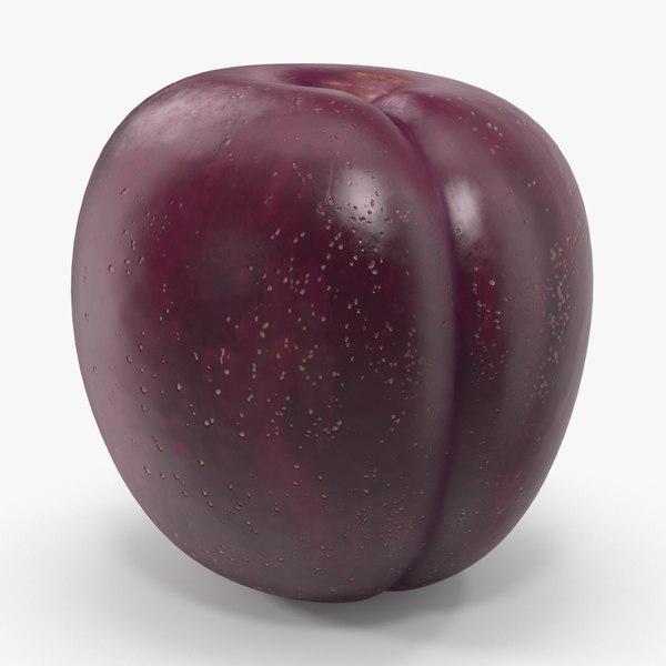3d model of plum darker skin leaf