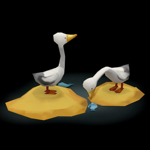 swans cartoon low-poly 3d max