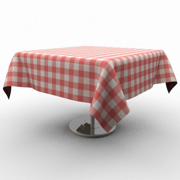 classic wooden table tablecloth 3d model