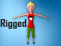 fbx rigged cartoon blonde girl body