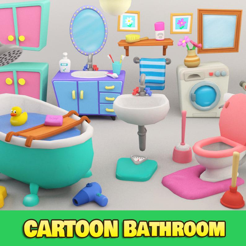 3d model of cartoon bathroom
