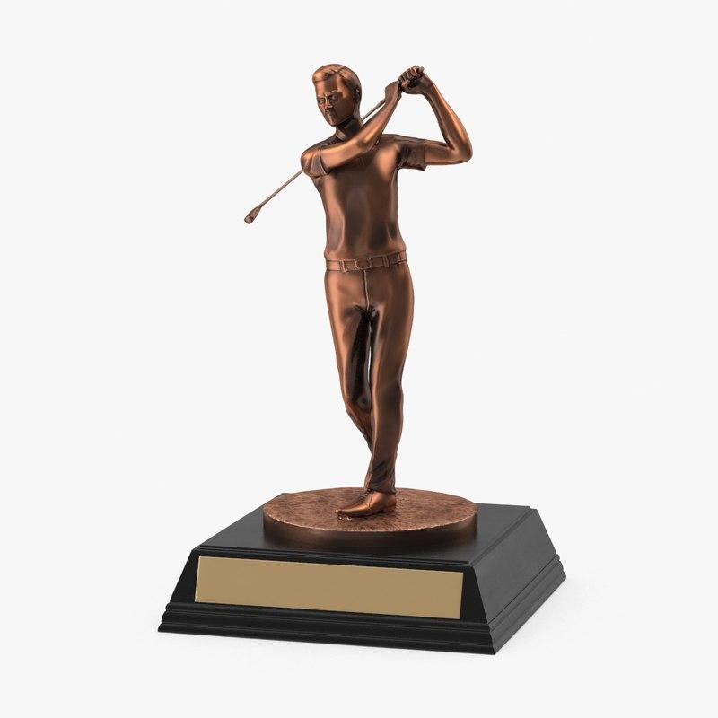 3d golf trophy model