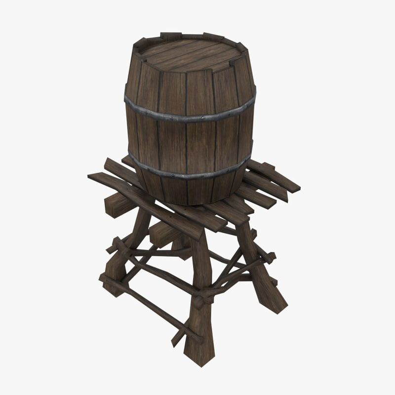 3d model wooden water tower low-poly