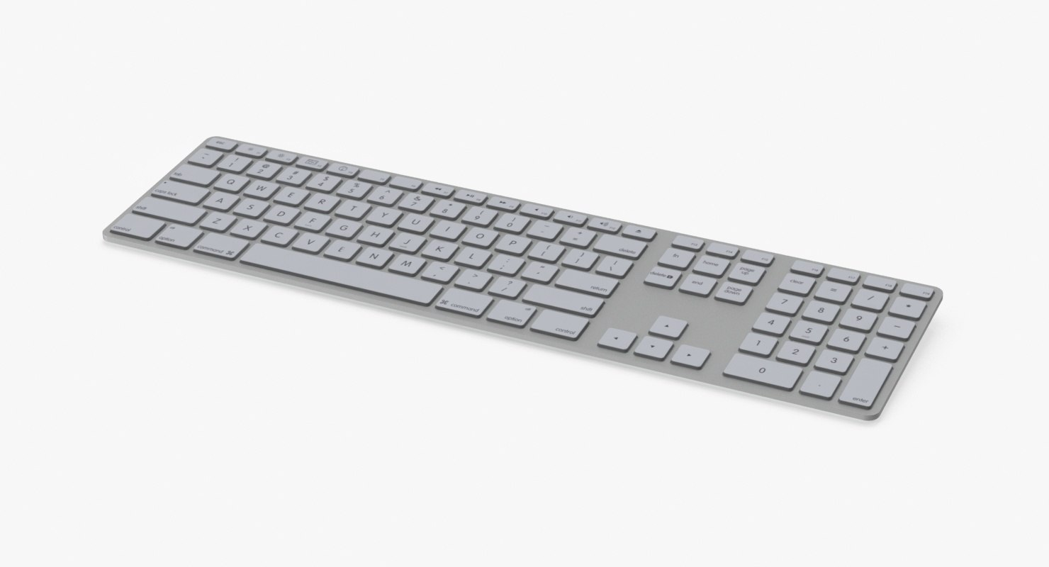 3d model white keyboard