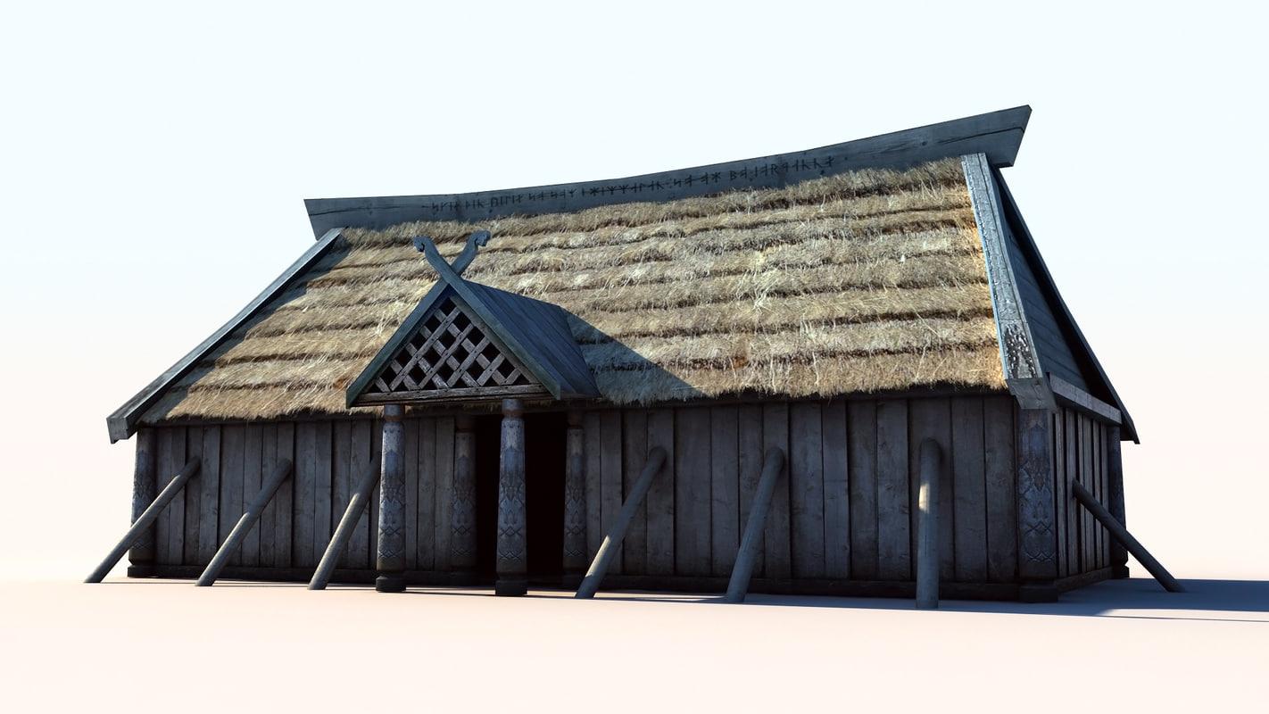vikings house 3 longhouse 3d max