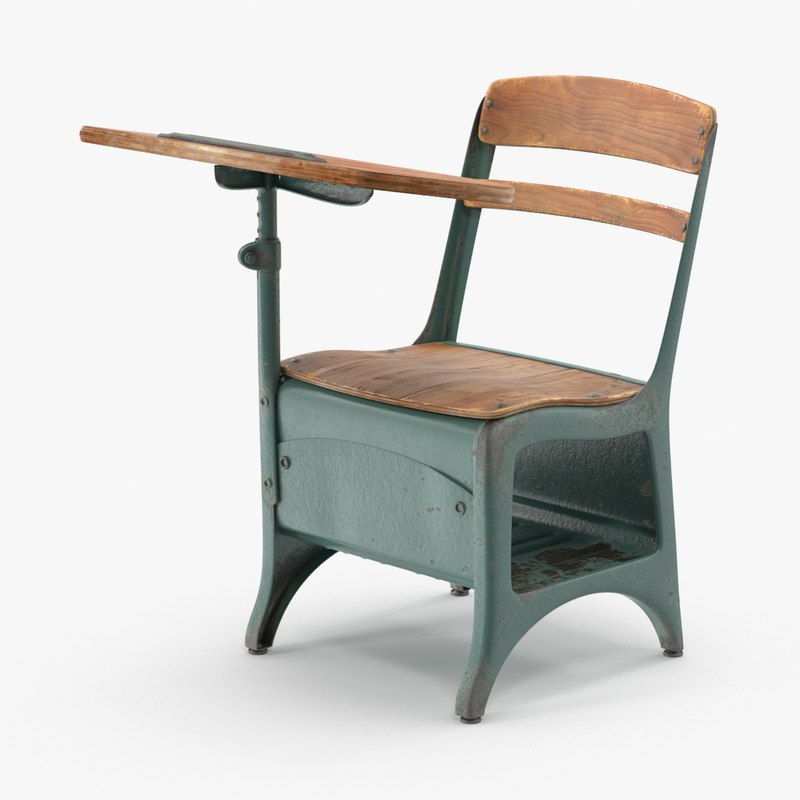 antique school desk 01 3d max