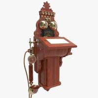 antique wall ericsson telephone 3d model