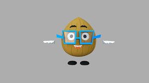 3d walnut cartoon character rigged