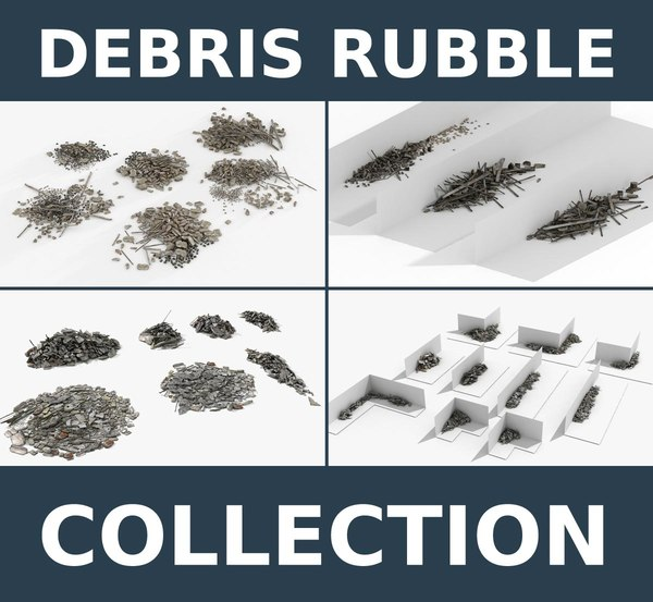 debris rubble 4 collections 3d max