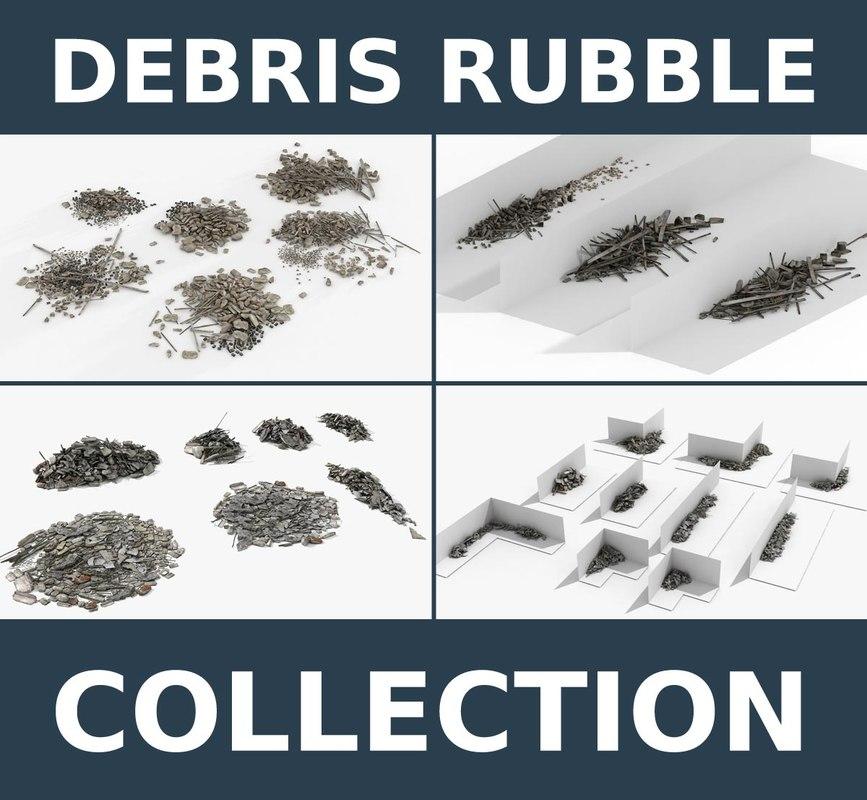 debris rubble 4 collections 3d max