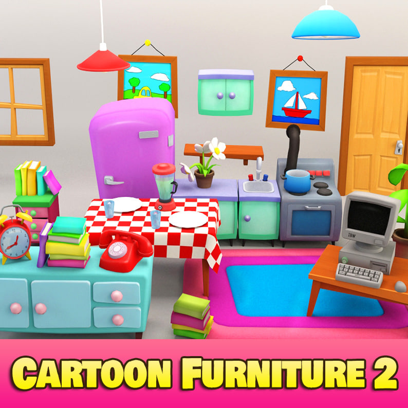 Cartoon Kitchen Furniture: 3d Model Cartoon Furniture 2 Toon