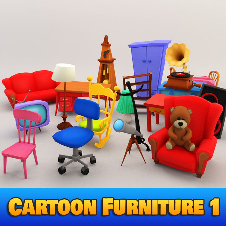 3d cartoon furniture 1 interior model