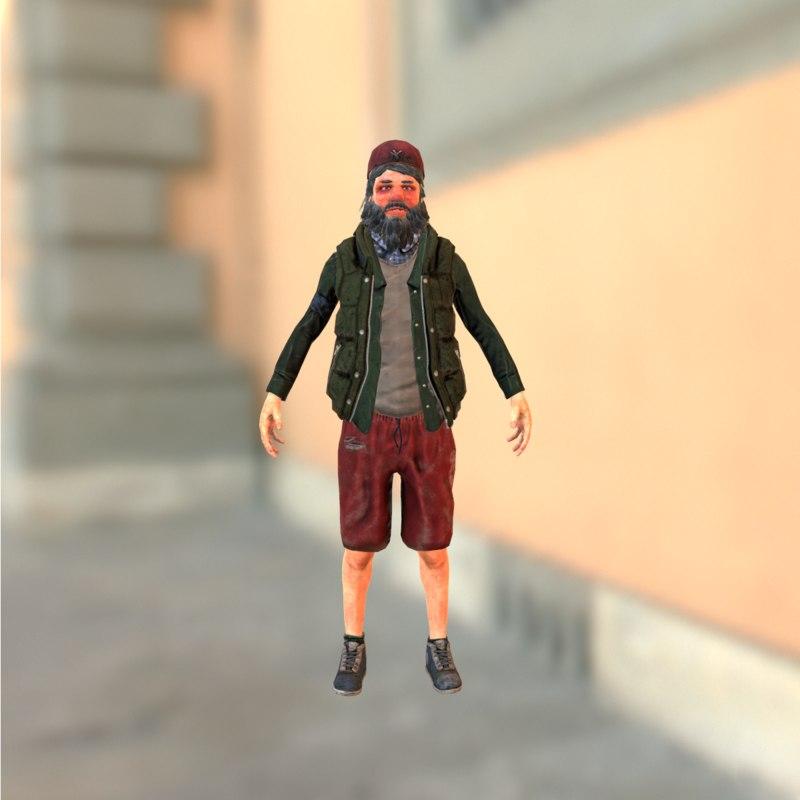 3d model of urban homeless
