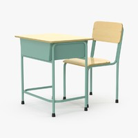 3d school desk 2 model