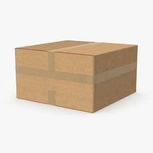 3d rectangular cardboard box tape model