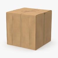 3d model square cardboard box twine