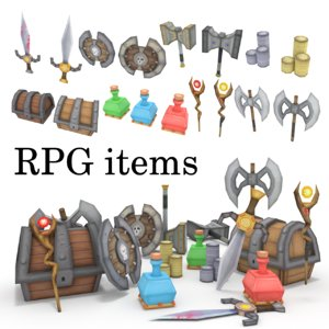 3d low-poly rpg items sword axe