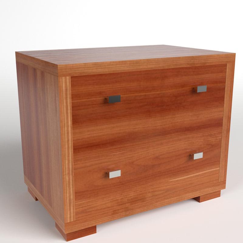 bedside table 2 3d model