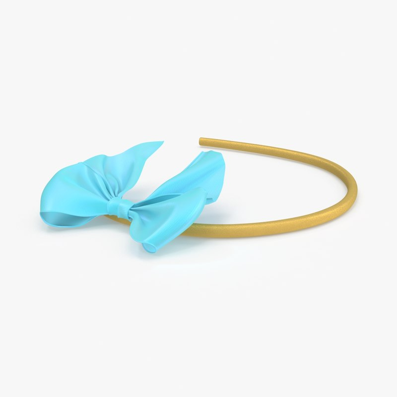 bow headband 03 blue 3d max