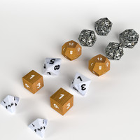 6+6 RPG D&D dice set/collection (UV Mapped, with UV Layout and sample Texture)
